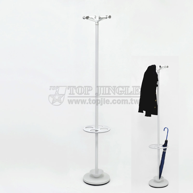 Useful White Coat Hanger Stand With Heavy Base