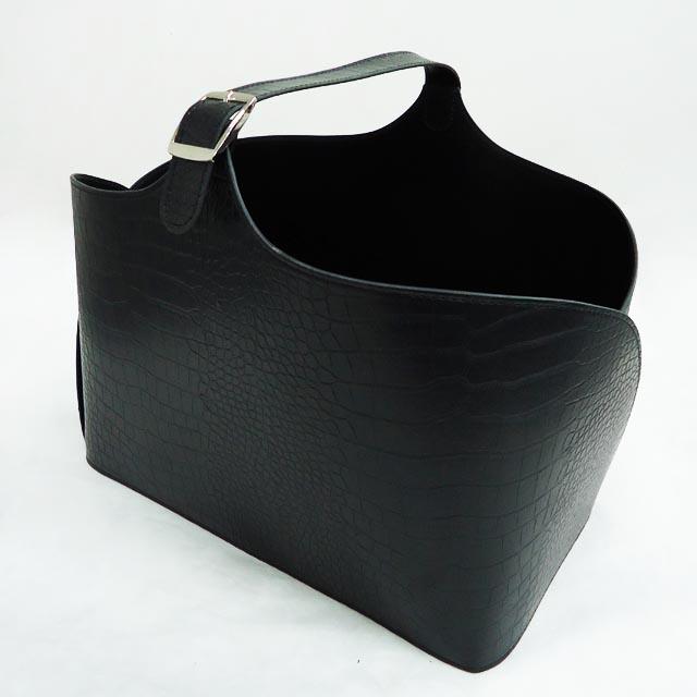 Saplı Siyah PVC Dergi Sepeti