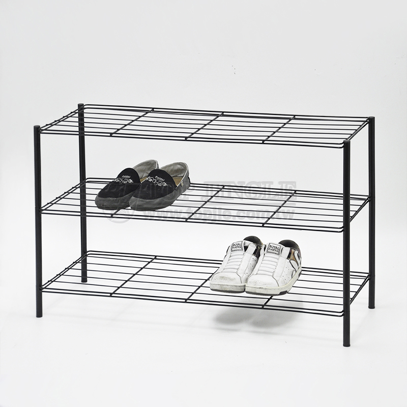 Rectangle Black Coating Wire Shoes Rack