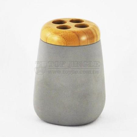 複合式雙色四方圓錐牙刷罐