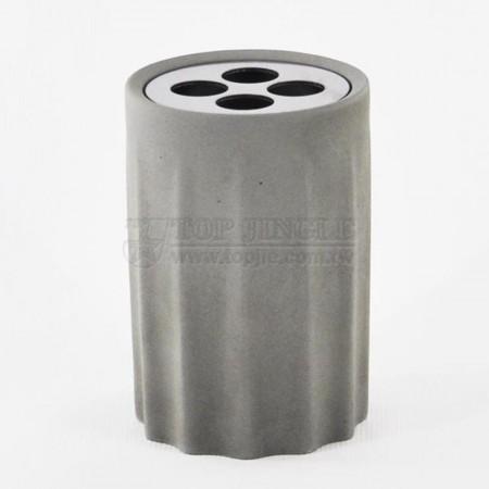 輕水泥圓形皺折造型牙刷罐
