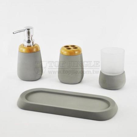 Набор для ванны из серого цемента