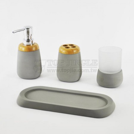 Gray Cement Bath Set