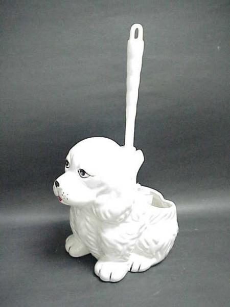 看門狗造型陶瓷馬桶刷杯架