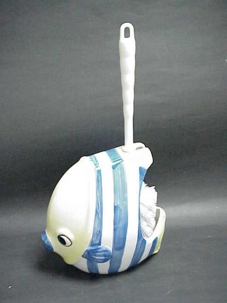 熱帶魚造型陶瓷馬桶刷杯架