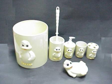 可愛鴨圖案陶瓷衛浴六件組
