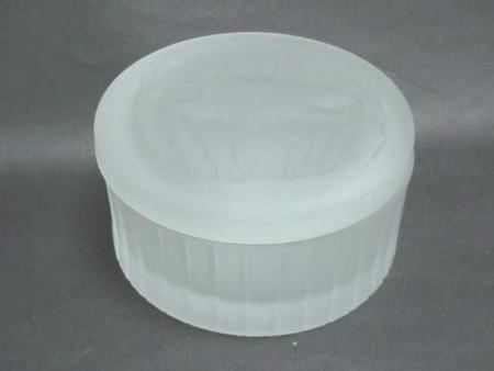 玻璃海豚霧白棉花罐