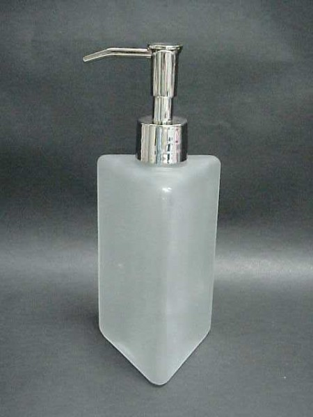 白霧色玻璃三角柱形乳液罐