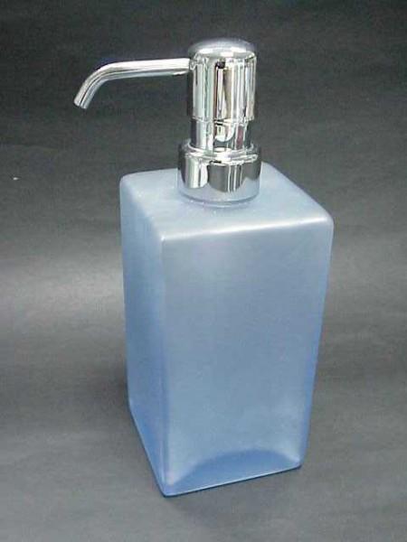 玻璃霧藍色四方角柱形乳液罐