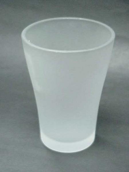 玻璃霧白色曲線漱口杯