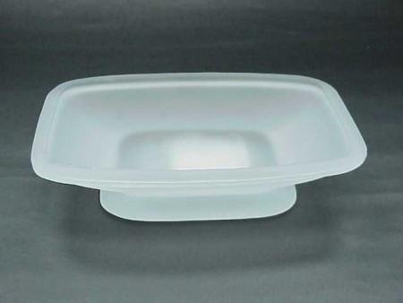 玻璃霧白色倒錐四方形肥皂盒