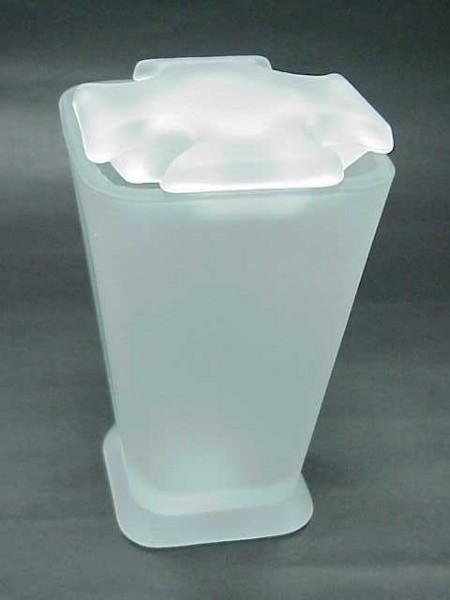 玻璃霧白色倒錐四方形四孔牙刷架