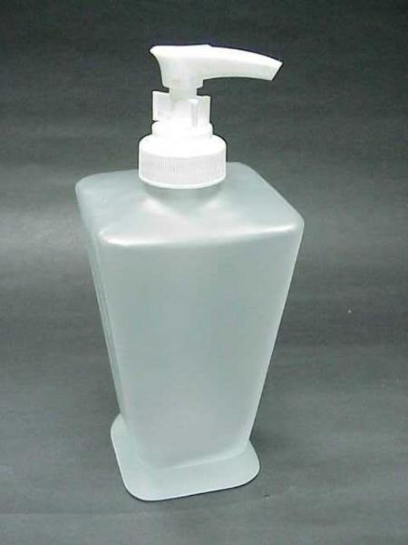 玻璃霧白色倒錐四方形乳液罐