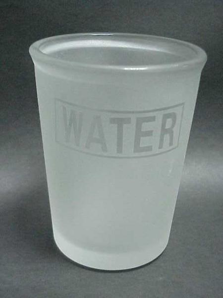 玻璃霧白色橫字設計圓柱型漱口杯