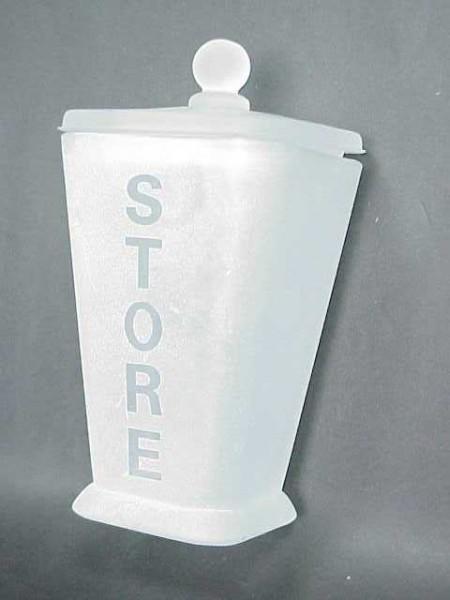 霧白色玻璃倒錐英文直字四方形棉花罐