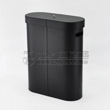 黑色扁橢圓型有蓋髒衣桶