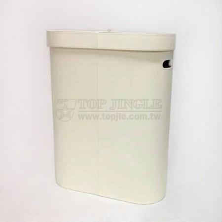 白米色扁橢圓型有蓋髒衣桶