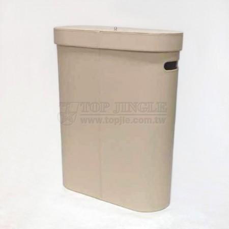 米黃色扁橢圓型有蓋髒衣桶