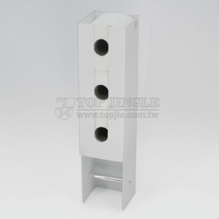 鎖壁/自黏兩用長方圓角造型鐵線衛生紙捲架附儲備衛生紙3捲架