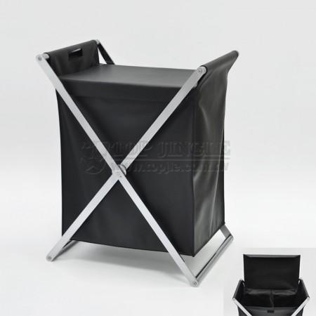 交叉扁鐵雙格髒衣籃