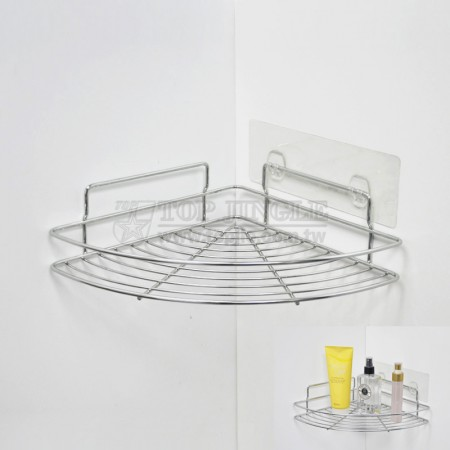 自黏系列鐵線扇型牆角單層置物架