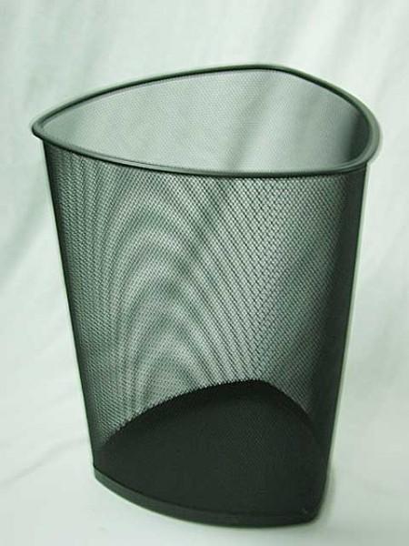 盾倒錐型拉網菱形密孔烤金黑垃圾桶