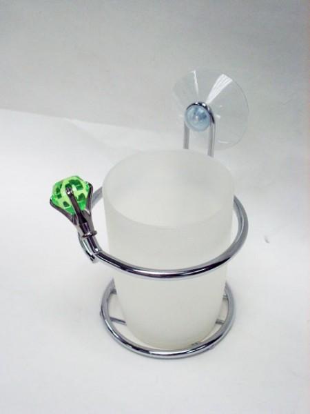 半透明綠鑽石造型吸盤杯架,漱口杯