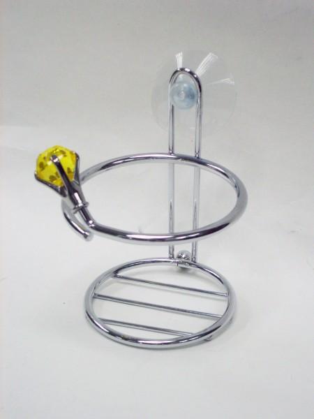 半透明黃鑽石造型吸盤杯架,漱口杯