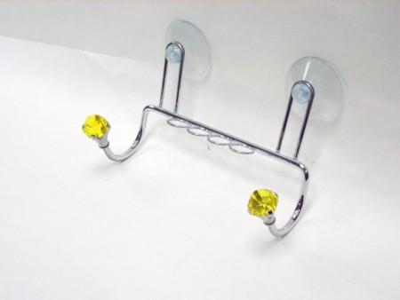 鑽石造型兩勾,4圈牙刷吸盤架