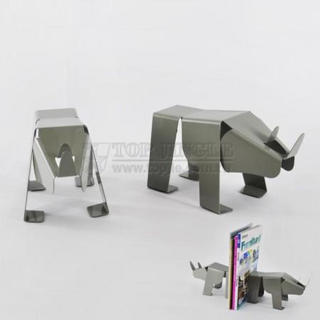 Gray Rhino Shape Bookends