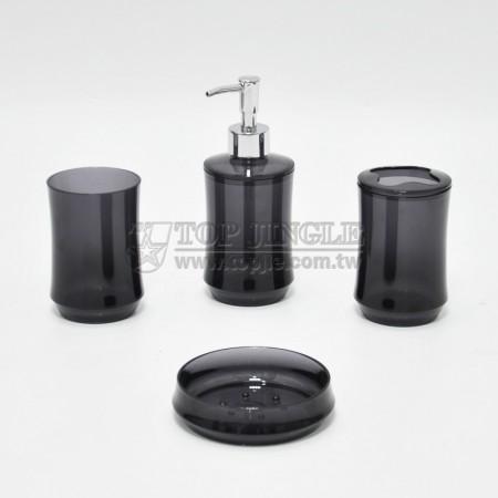 透明黑圓腰身造型衛浴四件組