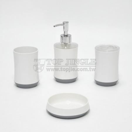 灰色圓腰身造型衛浴四件組