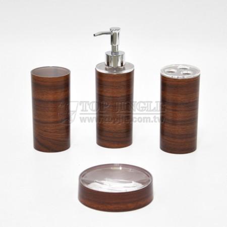 咖啡色圓柱木紋轉印造型衛浴四件組