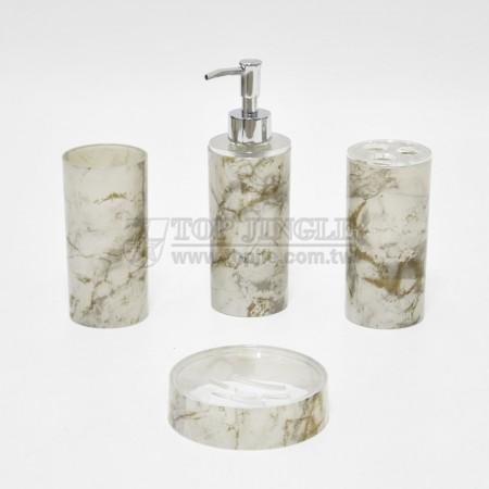 灰白色圓柱大理石紋轉印造型衛浴四件組