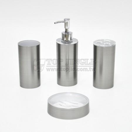 銀色圓柱拉絲紋轉印造型衛浴四件組