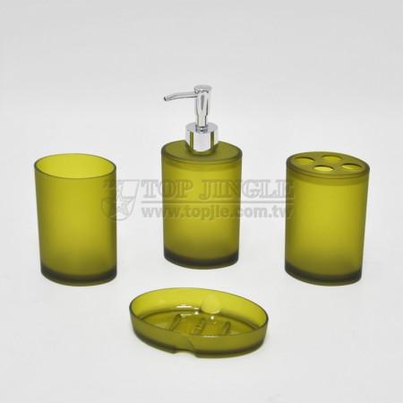 橄欖綠橢圓造型衛浴四件組
