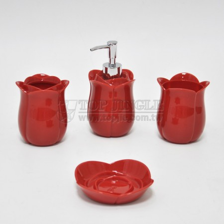 紅色鬱金香造型衛浴四件組