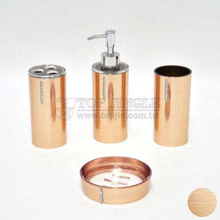 古銅色圓鑲鑽造型衛浴四件組