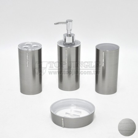 銀色圓鑲鑽造型衛浴四件組