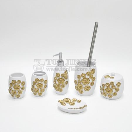 金色長橢圓花朵造型鑲鑽衛浴六件組