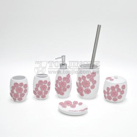 粉紅長橢圓花朵造型鑲鑽衛浴六件組