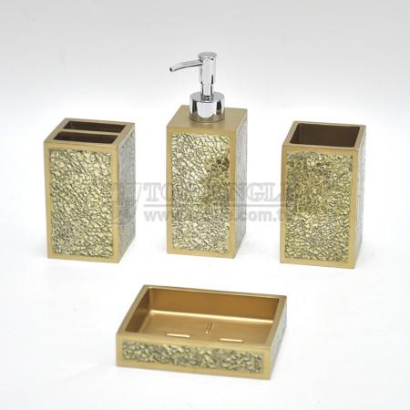 金色四方造型鑲鑽衛浴四件組