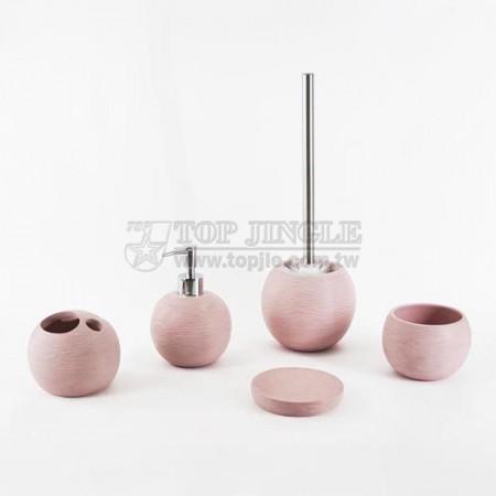 粉紅色牙籤紋胖圓系列衛浴五件組