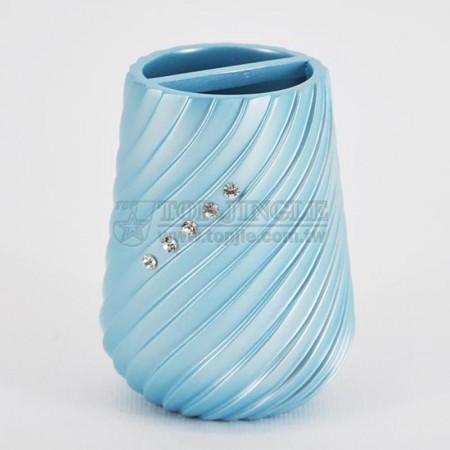 珍珠藍圓錐螺旋鑲鑽造型牙刷罐