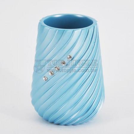 珍珠藍圓錐螺旋鑲鑽造型漱口杯
