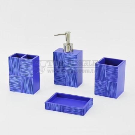 藍色長方磚塊系列衛浴四件組