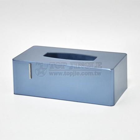 珍珠藍色長方形鑲鑽系列紙巾盒