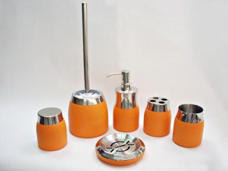 橘色不鏽鋼花瓶造型鏡面衛浴六件組