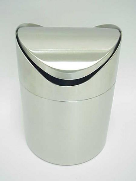 桌上型不鏽鋼霧面搖擺推式垃圾桶