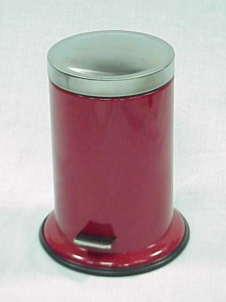 圓形烤紅漆寬邊底座腳踏垃圾桶,S/S霧面蓋